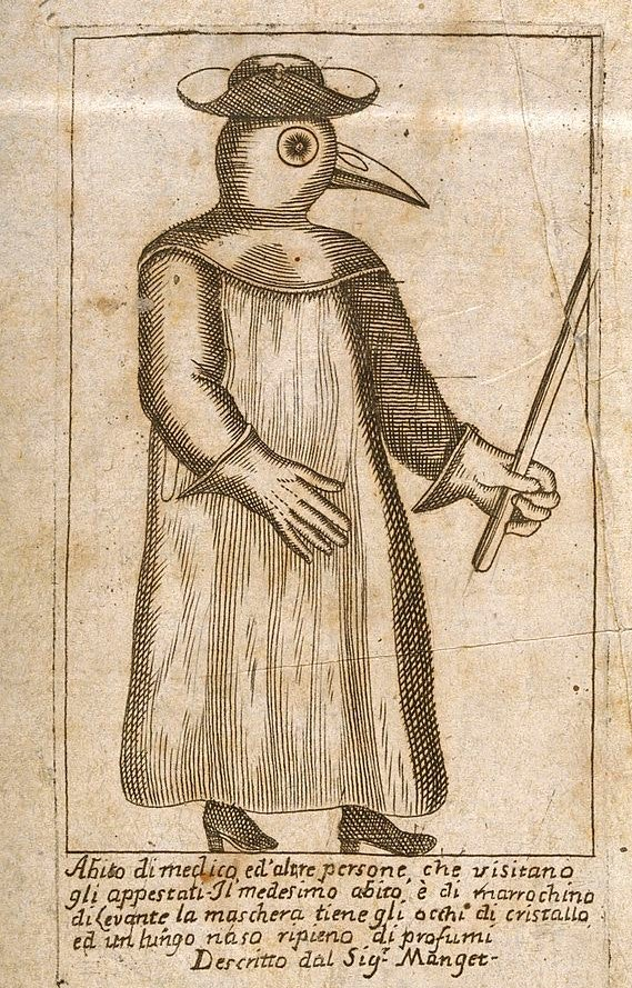 A Plague Doctor from Jean Jacques Mang et Traité de la peste 1721 A physician dressed inprotective plague costume